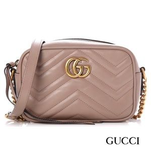 GUCCI Marmont! Dusky PinkSmall Quilted Cam…